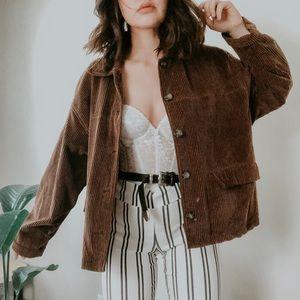 VINTAGE • corduroy oversized boho shirt jacket